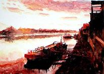 Sonnenuntergang, Lauenburg, Aquarellmalerei, Elbe
