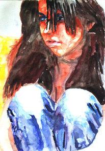 Lage, Aquarellmalerei, Portrait, Malerei