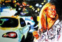 Aquarellmalerei, Frau, Malerei, Nacht