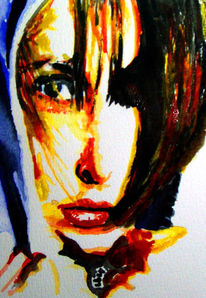 Lippen, Aquarellmalerei, Malerei, Portrait