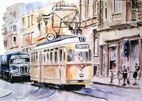 Lage, Aquarellmalerei, Wuppertal, Straßenbahn