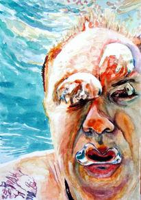 Unterwasser, Tauchen, Mann, Aquarellmalerei