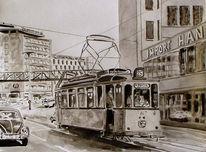 Straßenbahn, Zeichnung, Monochrom, Wuppertal
