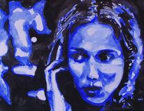 Blau, Portrait, Aquarellmalerei, Malerei