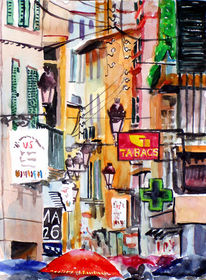 Regen, Altstadt, Gasse, Aquarellmalerei