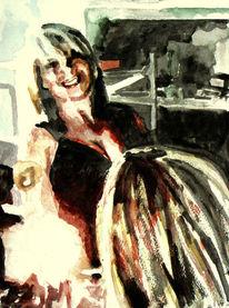 Lage, Frau, Aquarellmalerei, Spiegel