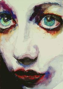 Aquarellmalerei, Augen, Lage, Portrait