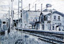 Malerei, Bahnhof, Monochrom, Aquarellmalerei