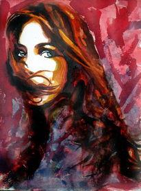 Ausdruck, Frau, Portrait, Rot