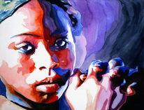 Ausdruck, Gesicht, Malerei, Mädchen