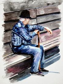 Aquarellmalerei, Bank, Alter mann, Menschen