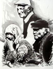 Portrait, Weiß, Licht, Frau