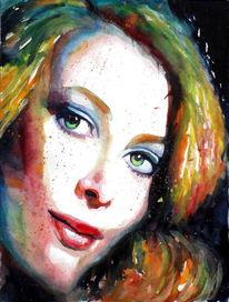 Ausdruck, Blick, Aquarellmalerei, Farben