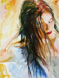 Haare, Frau, Ausdruck, Aquarellmalerei