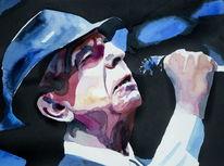 Portrait, Sänger, Aquarellmalerei, Mann
