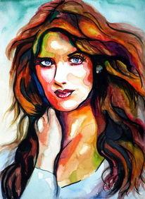 Portrait, Malerei, Farben, Frau