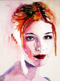 Haare, Aquarellmalerei, Mund, Portrait