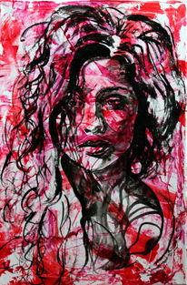 Portrait, Rot, Menschen, Schwarz