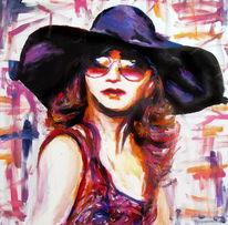 Acrylmalerei, Frau, Mädchen, Portrait