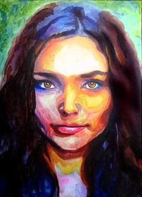 Blick, Frau, Augen, Acrylmalerei