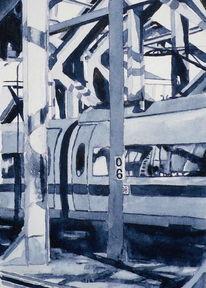 Bahn, Köln, Monochrom, Aquarellmalerei