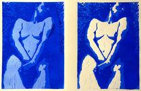 Grafik, Linolschnitt, Frau, Akt