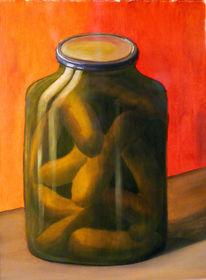 Gurke, Glas, Stillleben, Ölmalerei