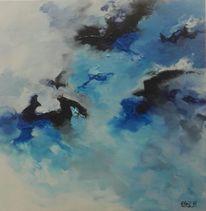 Blau, Landschaft, Acrylmalerei, Abstrakt