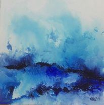 Schwarz, Landschaftacryl, Abstrakt, Blau