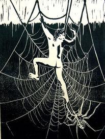 Spinnennetz, Akt, Linolschnitt linoldruck grafik, Alptraum