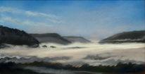 Tal, Morgen, Nebel, Landschaft