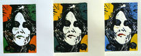 Portrait, Linolschnitt, Linolschnitt grafik, Frau