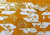 Linolschnitt, Schnee, Häuser, Druckgrafik