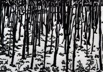 Wald, Druck, Winter, Linolschnitt