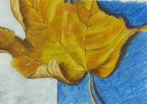 Blätter, Laub, Pastellmalerei, Herbst