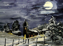 Mond, Nacht, Winter, Aquarellmalerei