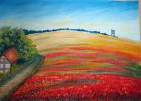 Landschaft, Wiese, Malerei, Heimat