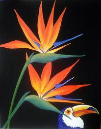 Strelizien, Blumen, Vogel, Malerei