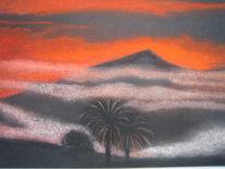 Morgengrauen, Teide, Berge, Malerei