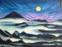 Vulkan, Berge, Nacht, Malerei