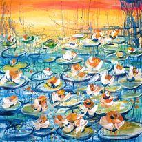 Landschaft, Blumen, Seerosen, Acrylmalerei