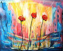 Mohn, Stadt, Blumen, Malerei