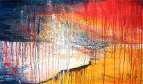 Abstrakt, Landschaft, Acrylmalerei, Nacht