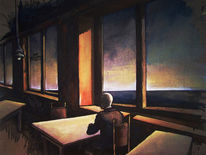 Melancholisch, Warten, Cafe, Himmel