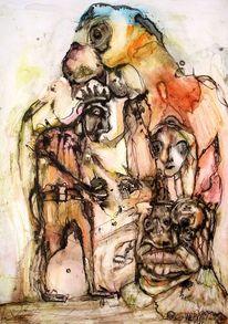 Tusche, Aquarellmalerei, Kohlezeichnung, Zeichnungen