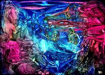 Brombeere, Blau, Malerei, Abstrakt