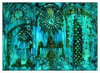 Architektur, Magie, Altar, Malerei