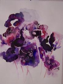 Blumen, Anemonen, Pflanzen, Aquarellmalerei
