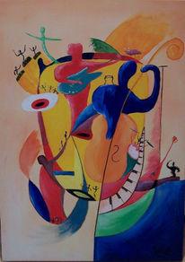 Menschen, Musik, Bongos, Streichinstrumente
