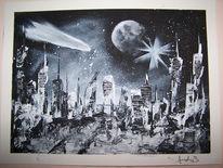 Häuser, Stadt, Mond, Universum